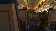 Rail travel, interior coach class, looking up the aisle Stock Footage