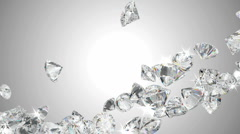Large diamonds flow with slow motion - stock footage