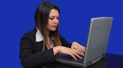 blue screen beautiful business woman girl laptop online marketing talk trade - stock footage