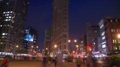 Time-lapse, Flatiron building night people low exposure Stock Footage