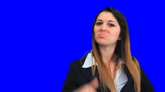 Blue screen beautiful business woman girl concept sign up down good bad Stock Footage