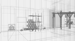 Interior of modern room 3d Stock Footage