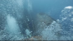 Bubbles and strong current over the Thistlegorm. Stock Footage