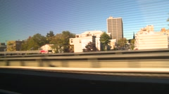 Rail travel, passing through Newark NJ, handheld Stock Footage