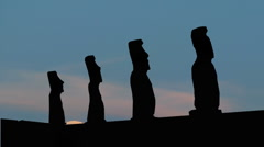 Easter islands moonrise Stock Footage