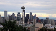 Downtown Seattle Skyline with Mount Rainier Stock Footage