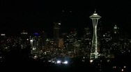 Downtown Seattle Skyline with Space Needle at Night Stock Footage