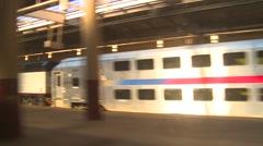 Leaving train station, Newark NJ Stock Footage