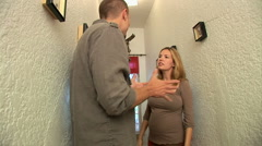 Pregnant couple feeling stress and arguing - stock footage