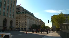 Wash DC, 15th street in morning shade Stock Footage
