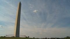 US Politics - Wash DC, Washington Monument wide curvature Stock Footage