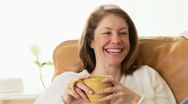 Happy woman relaxing Stock Footage