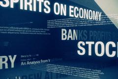 Happy Sounding Economic Headlines Loop NTSC - stock footage