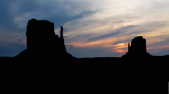 Monument valley sunset clouds 2 Stock Footage