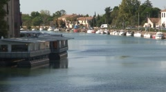 Herault River and Cathedral in Agde Stock Footage