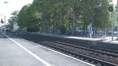 Train passing through Agde Railway Station Stock Footage