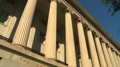 US Politics - Wash DC, treasury building tilt down Stock Footage