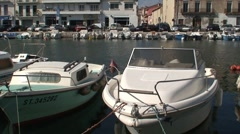 Boats Moored in Sete Harbour Stock Footage