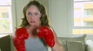 Woman boxing Stock Footage