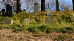 Autumn wind in the Old Jewish cemetery 2 Stock Footage
