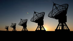 Radio telescope dusk Stock Footage