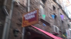 Agde Restaurant Sign and Narrow Street. Stock Footage