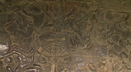 Stock Video Footage of Bas Relief stone carving of Angkor Wat