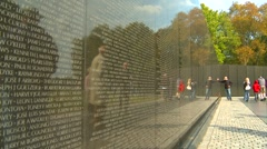 Wash DC, Vietnam Monument the wall people,  reflection, close up Stock Footage
