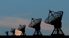 Radio telescope moonrise Stock Footage