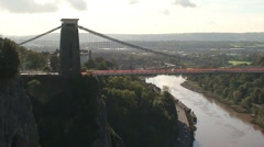 Clifton Suspension Bridge across River Avon Stock Footage