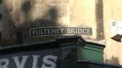 Pulteney Bridge and Street Sign Stock Footage