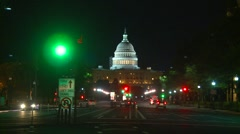 Wash DC, Capitol Hill at night Pennsylvania ave. Political intrigue b-roll Stock Footage