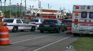 Emergency vehicles at fatal crash Stock Footage