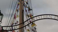 Flags on SS Great Britain Mast Stock Footage