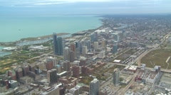 Aerial Chicago south-side and Lake Michigan Stock Footage