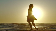Beach Ballet at sunset Stock Footage