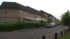 British Residential Street with Cars Stock Footage