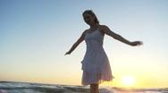 Beach Ballet at sunset Stock Footage
