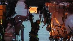 Mobile home fire LFR#3 Stock Footage