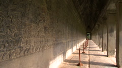 long western Gallery of Bas relief stone carving of Angkor Wat - stock footage