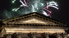 Fireworks over city building 8 Stock Footage