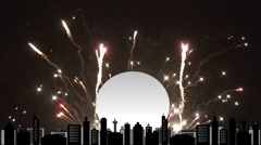 Fireworks over high res cityscape scene 1 Stock Footage