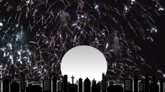 Fireworks over high res cityscape scene 4 Stock Footage