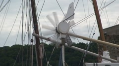 Wind Turbine on Back of Boat Stock Footage