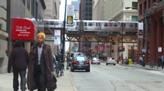 "American Icons #9 Chicago the ""L"" and traffic, medium shot Stock Footage"