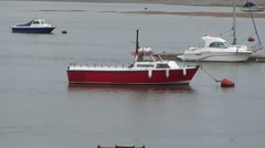 Boat Moored on River Conwy Stock Footage