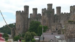Conwy Castle and Harbour Buoy Stock Footage