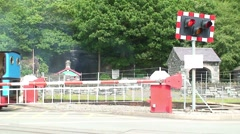 Steam Train at Level Crossing Stock Footage