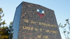 War Memorial to the 384 Bombardment Group Northamptonshire England UK Stock Footage