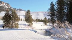 Woman jogs outdoors in the snow alongside creek Stock Footage